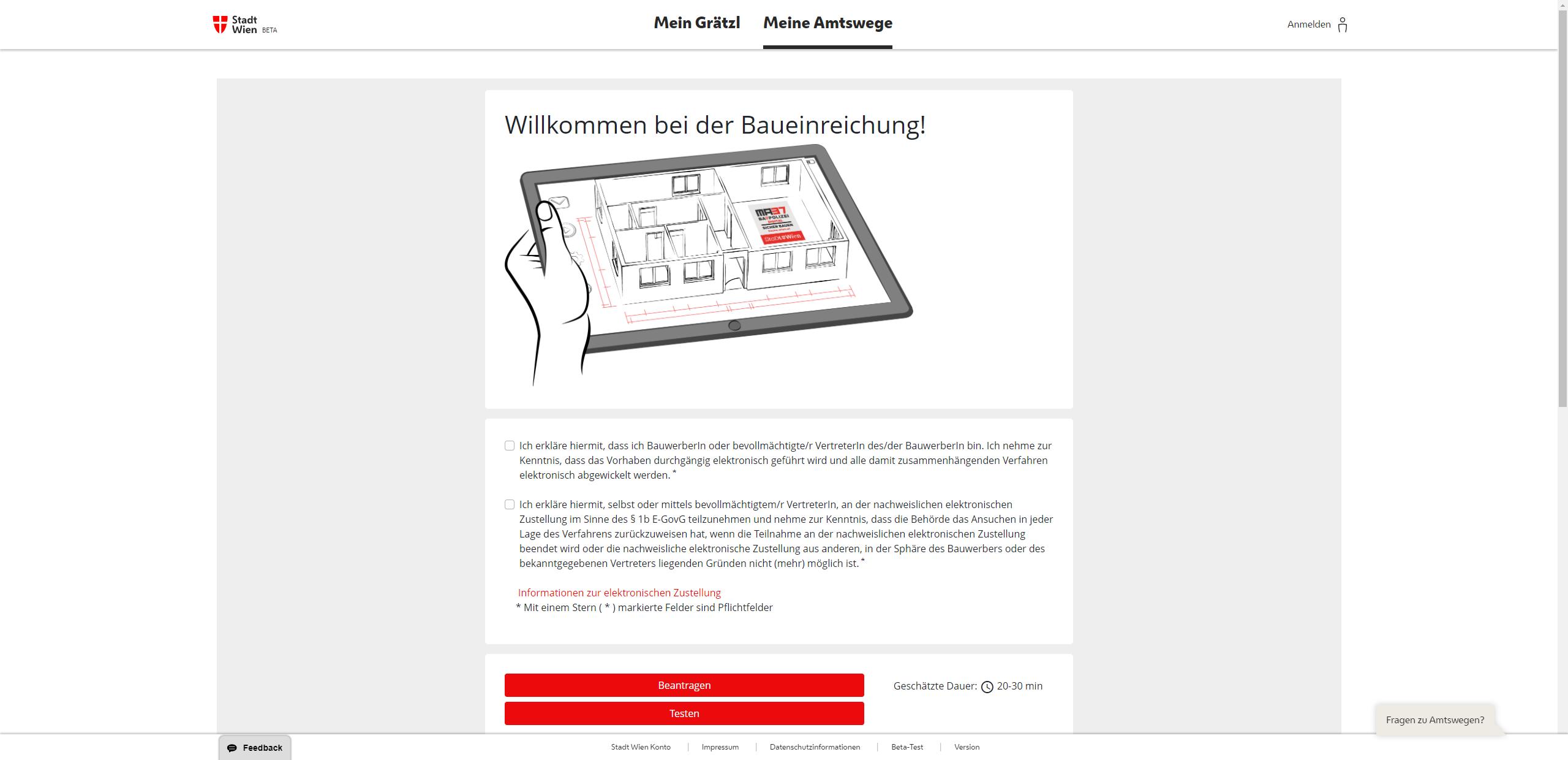 Screenshot Baueinreichung über Mein Wien