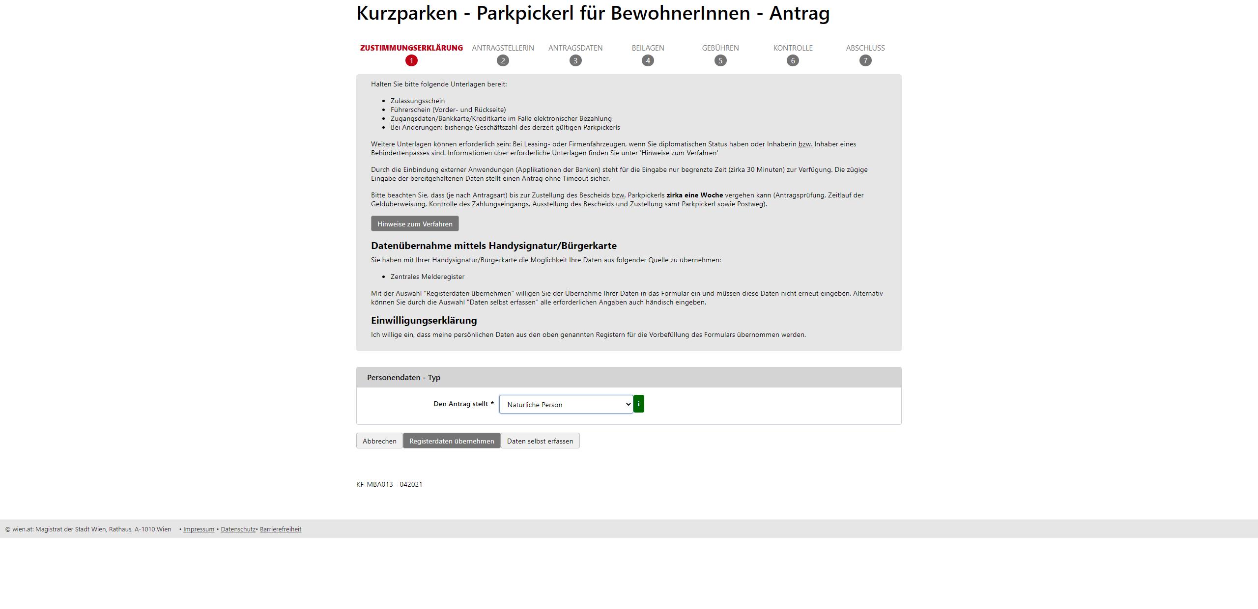 Screenshot Antrag stellen - Kurzparken Parkpickerl für BewohnerInnen