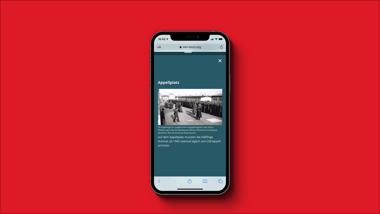 Screenshot Virtueller Guide Mauthausen Memorial - Appelplatz