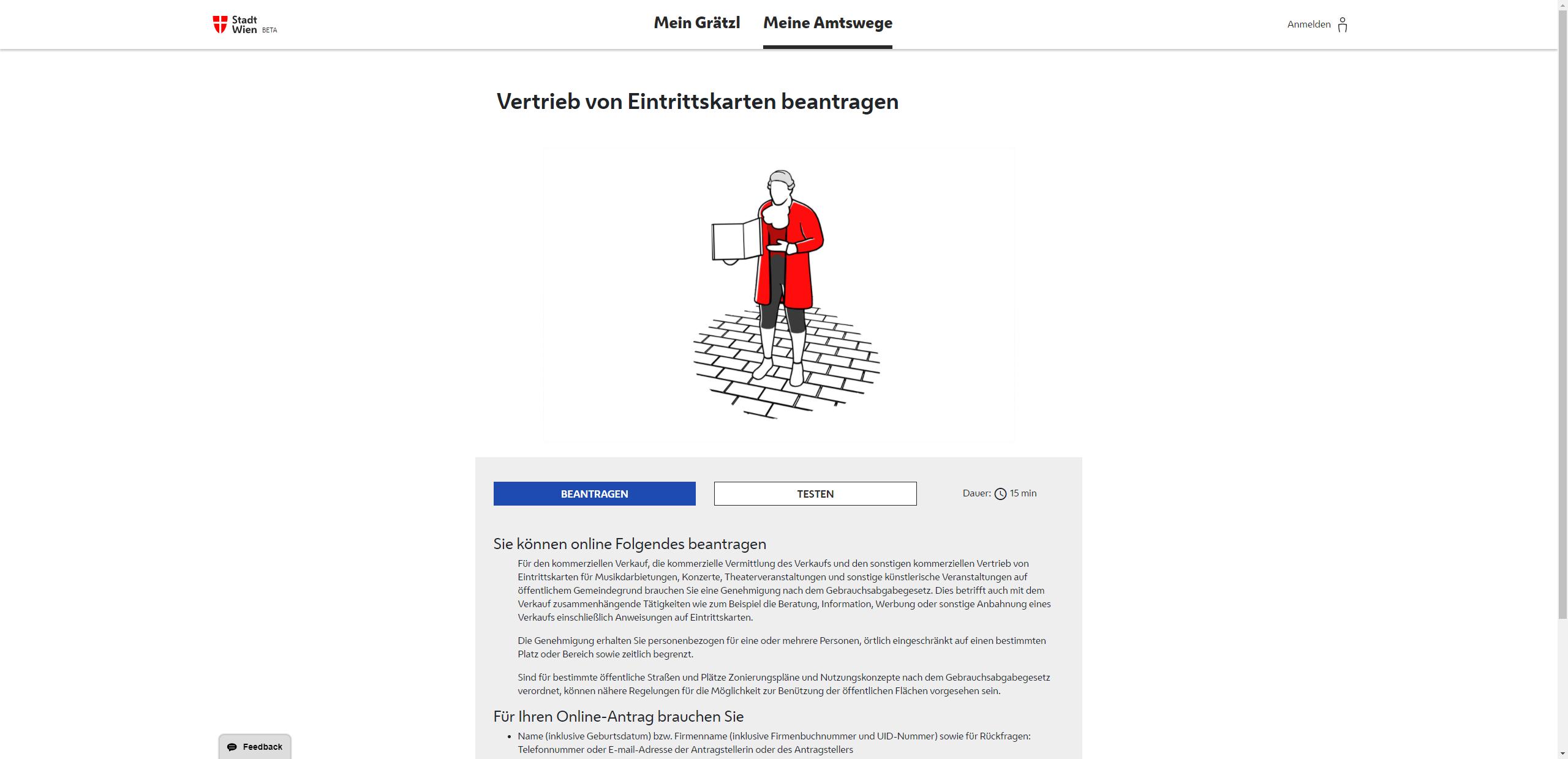 Screenshot Antrag für Vertrieb von Eintrittskarten - Mozartkartenverkäufer über Mein-Wie