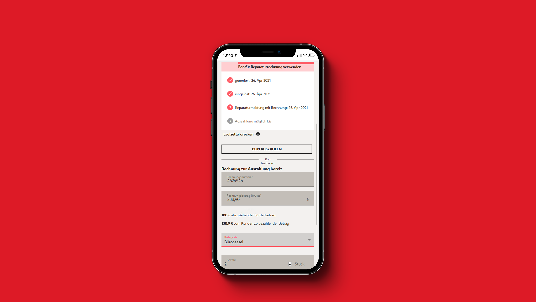 Screeshot Wiener Reparaturbon Partner App - Bon Auszahlung