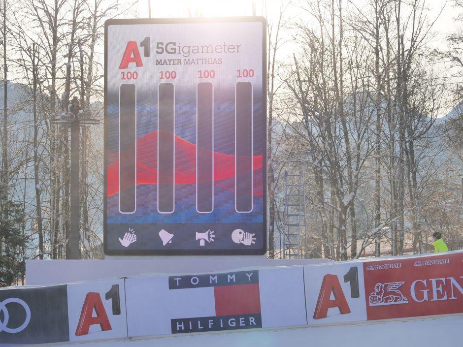 Gigameter der A1 Fan App beim Hahnenkamm Rennen
